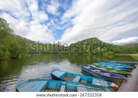 Boats in river and trees.