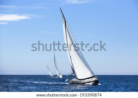 Boats in sailing regatta. Luxury yachts. - stock photo