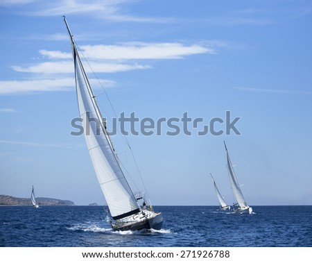 Boats in sailing regatta. Yachting. Luxury yachts. - stock photo