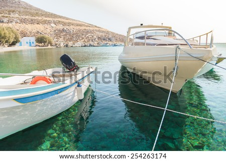 Boats in sea harbor on the Greek island Kalymnos