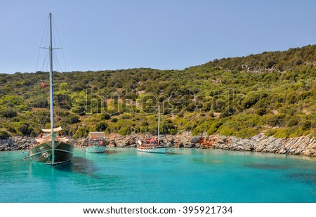 Boats in the Aegean Sea. Bodrum, Mugla, Turkey - stock photo