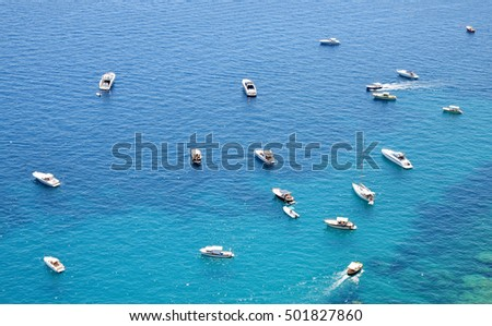 Boats in the blue sea