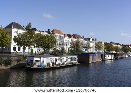 boats in the centre of middelburg - stock photo