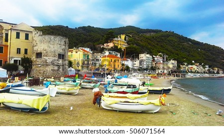 Boats in the harbor, Laigueglia, Liguria, Italy