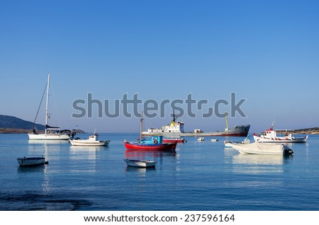 Boats in the harbor of Ano Koufonisi island, Cyclades, Greece - stock photo