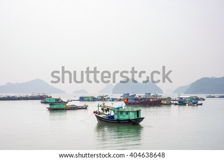 Boats in the harbor on Cat Ba Island, Hai Phong Province, Vietnam