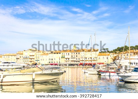 Boats in the old port of Saint Tropez, French Riviera