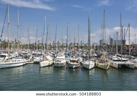 Boats in the Olympic Port of Barcelona