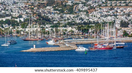 Boats in the port of Bodrum in Turkey