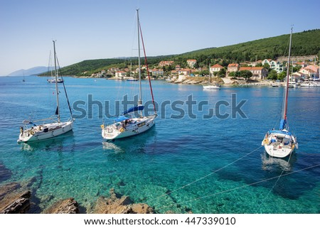 Boats in the port of Fiscardo in Kefalonia, Ionian Islands, Greece