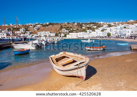 Boats in the sea bay near the town of Mykonos in Greece - stock photo