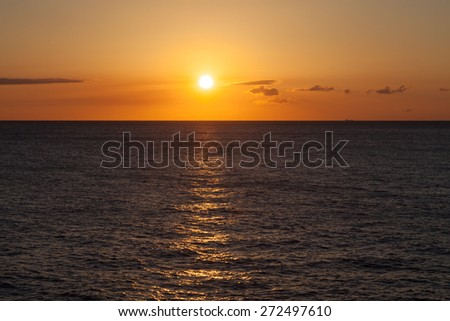 Boats in the sunset Curacao a tropical island in the Caribbean - stock photo