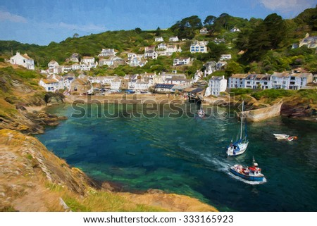 Boats leaving harbour Polperro Cornwall England UK on a beautiful sunny day with blue sky illustration like oil painting