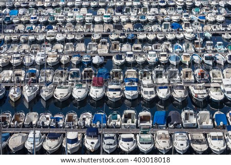 Boats lined up on the dock of the old port of Marseille, France - stock photo