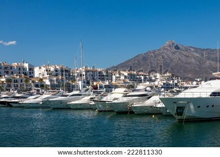 Boats moored in the harbor. Puerto Banus, Malaga, Spain  - stock photo