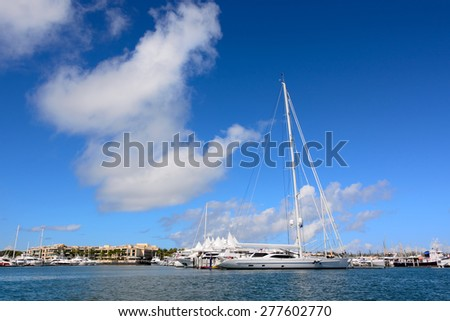 Boats mooring at Gold Coast waterways - stock photo