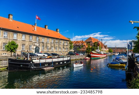 Boats on a canal in Copenhagen, Denmark - stock photo