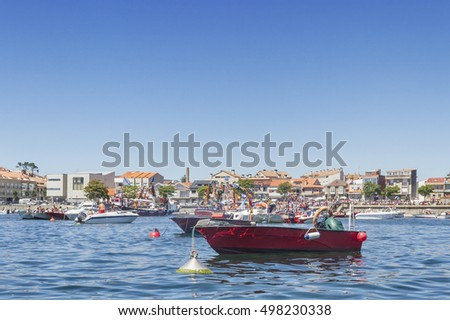 Boats on Campo harbor during the arrival of Carmen Virgin maritime procession in Arousa Island