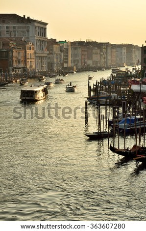 Boats on Grand Canal in Venice, Italy