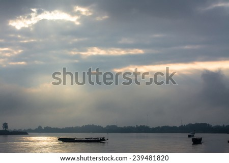 boats  on Khong river in the morning  ,Chiangsan in Chiangrai ,Thailand