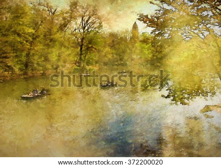 Boats on New York City's Central Park Lake in Spring transformed into a golden toned colorful painting - stock photo