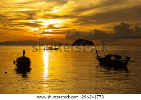 Boats on Sunrise Beach, Thailand