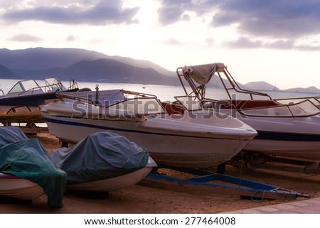 Boats on the beach - stock photo