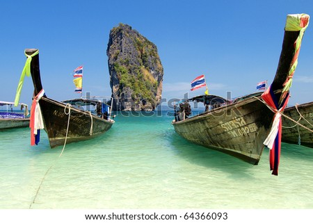 boats on the beach of Thailand