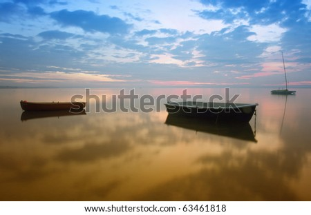 Boats on the lake from Hungary,at morning - stock photo
