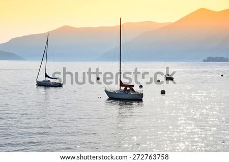 Boats on the lake. Italy - stock photo