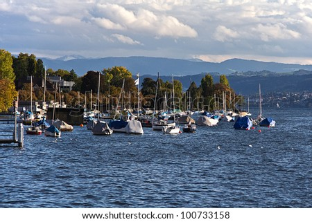 Boats on the lake of Zurich (Zurichsee) - stock photo
