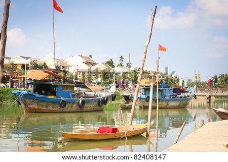 Boats on the river in Hoi An, Vietnam - stock photo