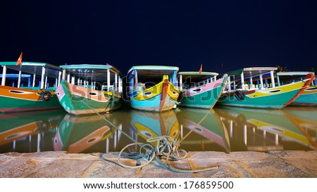Boats on the river of Hoi An, Vietnam - stock photo