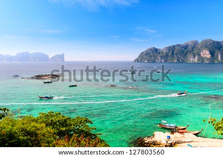boats, sea and cliffs at koh Phi-Phi, Thailand