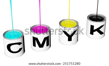 boats with cyan magenta yellow and black cmyk rendered in 3d clipping path - stock photo