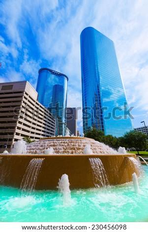 Bob and Vivian Smith fountain in Houston downtown Texas US - stock photo