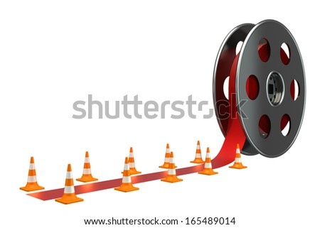 Bobbins films and red carpet. isolated white background. 3d - stock photo