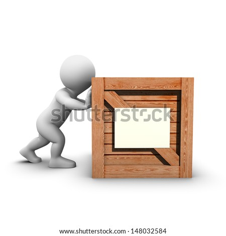 Bobby has trouble pushing a big wooden crate with a white label attached. - stock photo