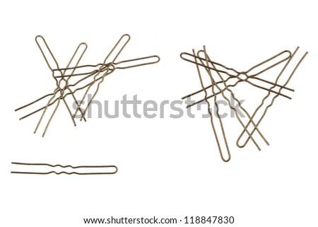 Bobby pin isolated on white - stock photo