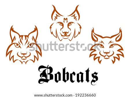 Bobcats and lynxes for mascot or tattoo logo design. Vector version also available in gallery - stock photo