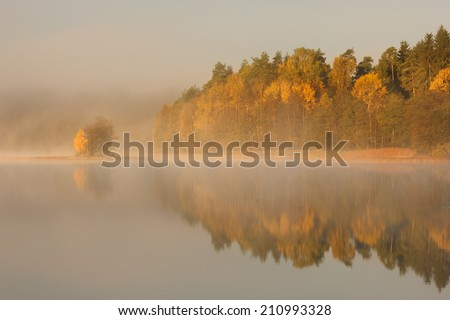 Bobecino Lake, Pomerania, Poland/ Autumn Lake. - stock photo