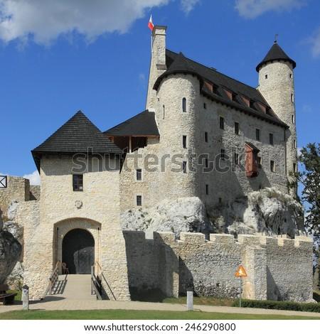 Bobolice castle - old fortress in Poland. Landmark in Europe. - stock photo