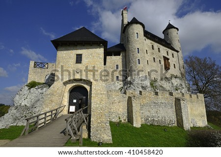 BOBOLICE, POLAND -APRIL 22, 2016: Royal Castle in Bobolice near Krakow was built during the reign of Kazimierz III the Great of the 14th century. It belongs to castles end fortresses: Eagle Nest Trail - stock photo