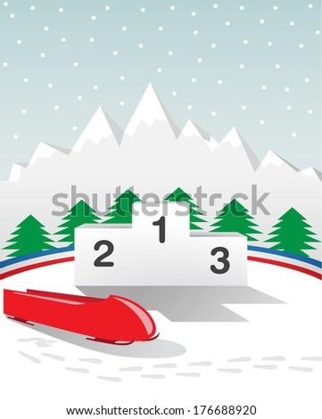 bobsleigh winter game podium - stock photo
