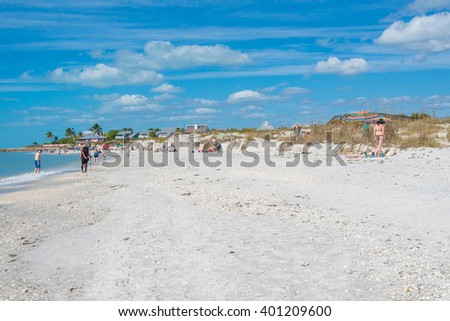 Boca Grande Beach on Gasparilla Island, in southwest Florida.  A popular beach for sun, surf and sand and known for its sugar sand beaches, shelling, blue water and world class fishing.  - stock photo