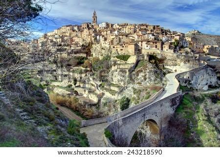 Bocairente, ancient village in the Sierra Mariola, Spain. - stock photo