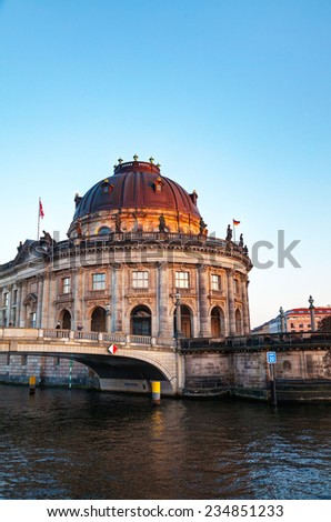 Bode museum in Berlin, Germany in the evening