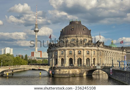 Bode Museum located on Museum Island (Museumsinsel) with river Spree and TV Tower in background, Berlin Mitte, Germany, Europe - stock photo