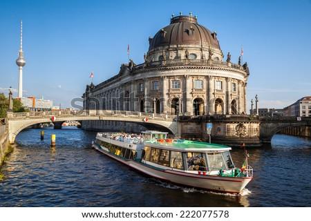 Bode museum on Museum Island and TV tower on Alexanderplatz, Berlin, Germany - stock photo