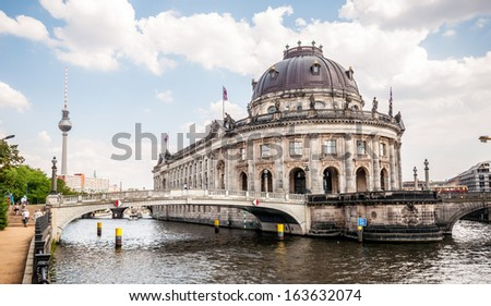 Bodemuseum and Fernsehturm in the center of Berlin - stock photo